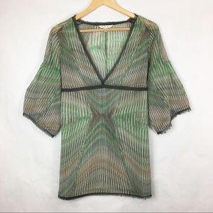 CAbi Green & Brown Semi Sheer Blouse Size S